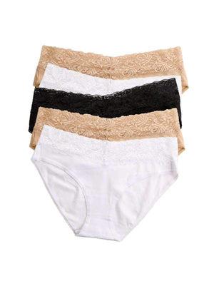 Jezebel Cotton Spandex Hipster 5 Pack color-white bare black