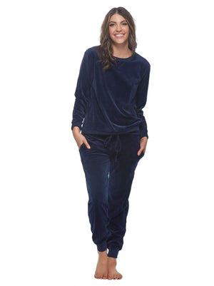 Felina Ultra-Luxe Velour Lounge Set color-navy