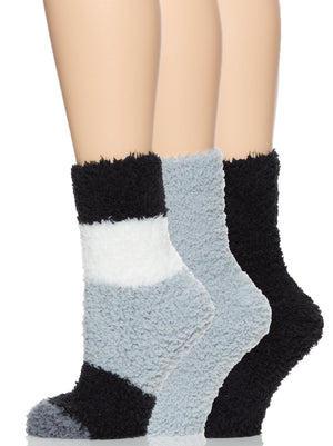 plush crew socks color-gray scale