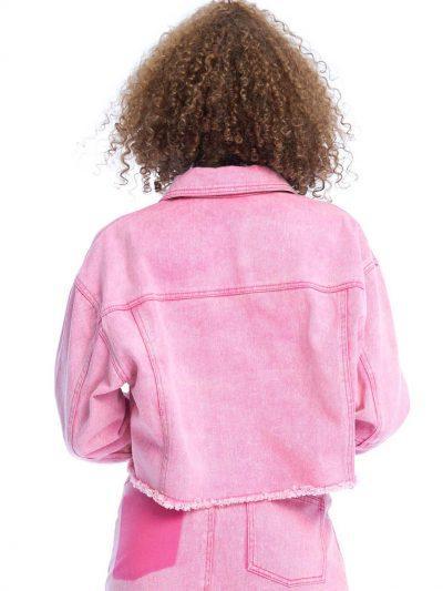 Link Up Denim Jacket – Powder Pink