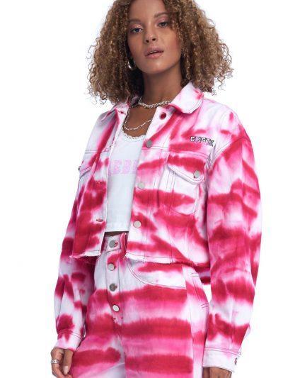 Link Up Denim Jacket – Tie Dye Red