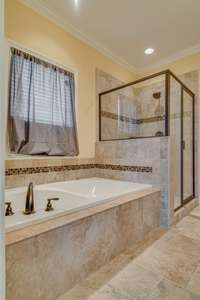 Closer view of tub and shower