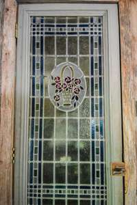Beautiful stained glass door to pantry