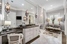 Her private space with makeup vanity and private bathing area