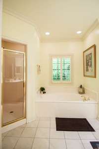 Large tile shower and jetted tub