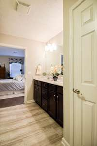 Linen closet and large walk-in closet