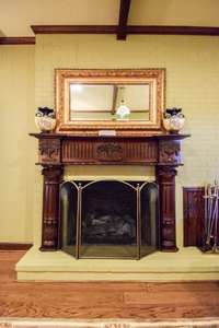 Manificent fireplace in the den