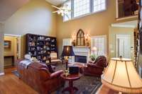 Magnificent living room with a handsome gas fireplace