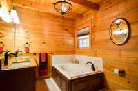 Double vanities and large tub