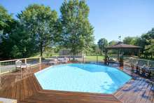 Fun summer days swimming and enjoying shade under pavillion
