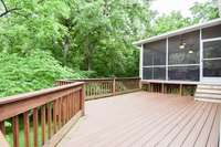 Expansive, private rear deck and screened deck