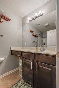 Primary ensuite has vanity section