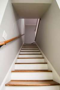 Staircase to finished basement