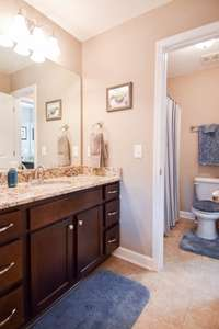 Separate vanity and entrance, shares shower/tub combo