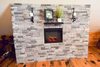 Handsome stone fireplace