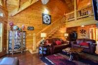 Grand living room, soaring ceiling