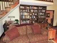 Built in bookshelves under loft area.