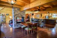Outstanding interior, pine walls, floors, and beams