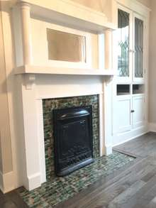 Formal Dining Room with original fireplace and built in China Hutch