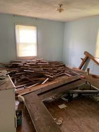 Seller pulled up all the original flooring