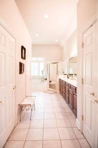 Soaring ceiling as you enter the full bath. 2 closets and water closet