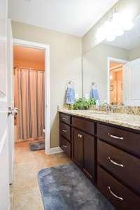 Lovely full bath on the upper level, shower/tub combo