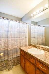 Lovely full bath on upper level, shower/tub combo