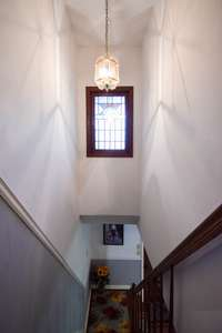 Upper level, gorgeous stained glass window