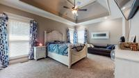 Master suite on main level with trey ceiling and recessed lighting