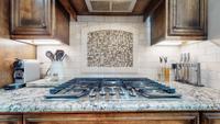 Gas cooktop with tile backsplash
