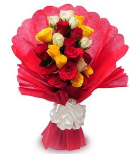 20 Multi Color Roses Bunch