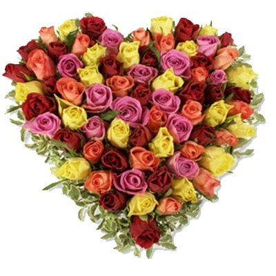 Mix Roses Heart Shape Basket