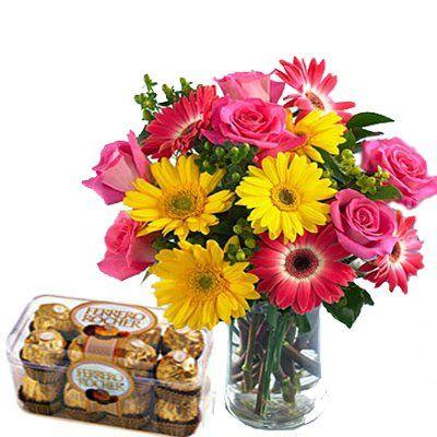 Ferror Box with Mix Flowers Vase