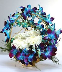 10 Orchids and Carnations Round Basket