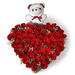 heart shaped 50 red roses arrangement