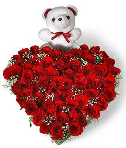 heart shaped 50 red roses arrangement