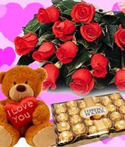 Chocolate Box, Red Roses,Teddy Bear