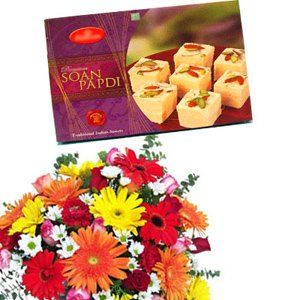 Mix Flowers with Soan Papdi