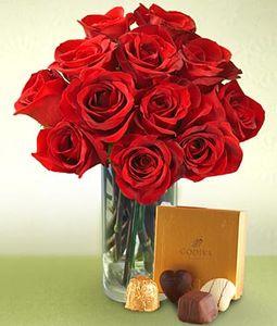 12 Roses in Vase Handmade Chocolate