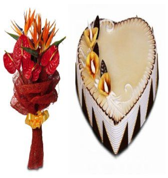Anthurium Flowers and Cake