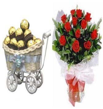 Ferrero Trolly and Red Roses