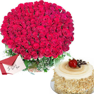 100 Red Roses with 1KG Pineapple Cake