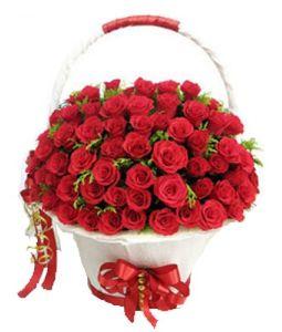 100 Red Roses Round Basket Kolkata