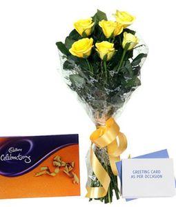 Yellow Roses Cadbury Celebration Box