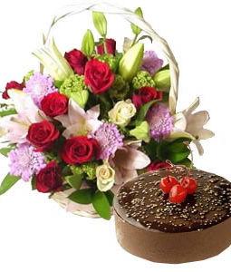 Exotic Flowers Basket with Chocolate Truffle Cake