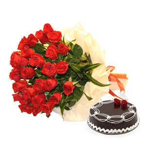Two Dozen Roses and Cake