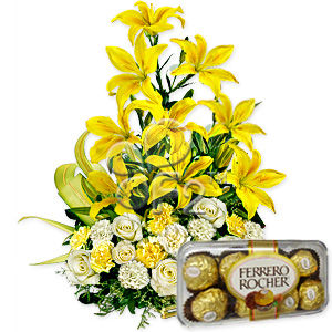 Lillies Basket with Chocolate