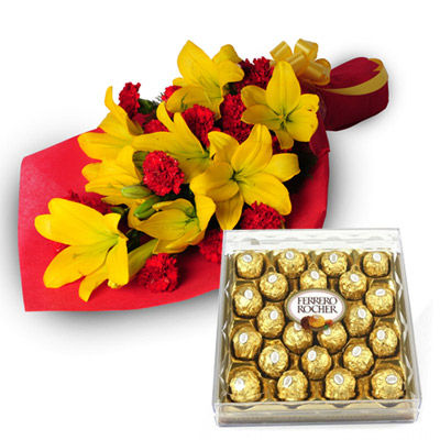 Lillies Bunch with Chocolates