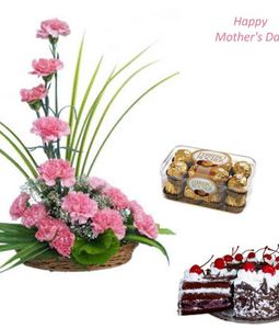 Carnations Basket with Cake & Chocolate