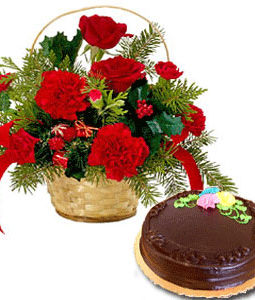 Red Flowers with Cake